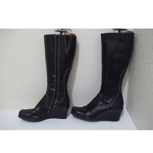 Gianni Bini Black Leather Wedge Boots